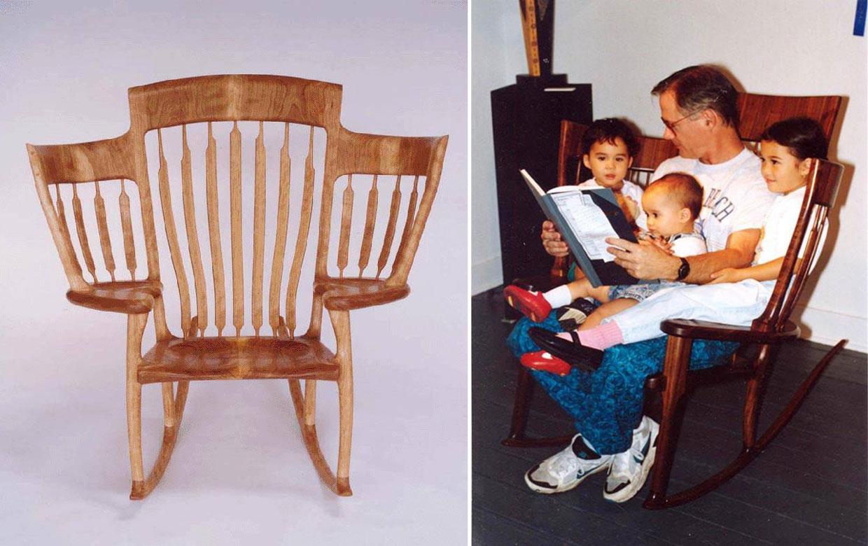 Un pap cuentacuentos inventa la silla para tres for Sillas para lectura