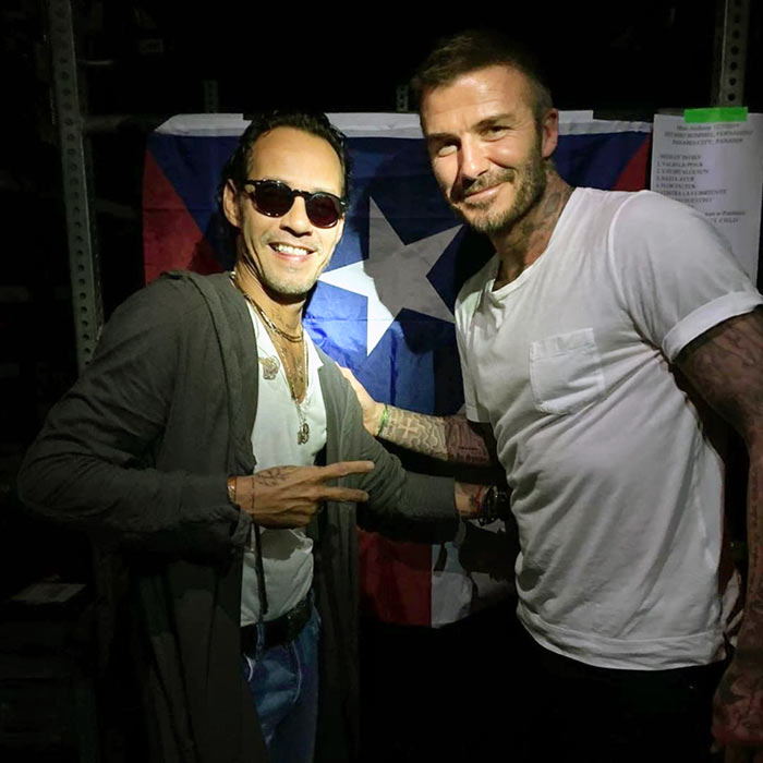 David Beckham y Marc Anthony