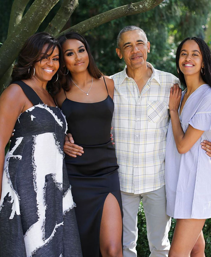 Barack Obama, Michelle Obama, Malia Obama y Sasha Obama