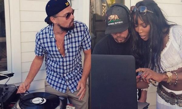 Leonardo DiCaprio demuestra su talento como DJ con Naomi Campbell