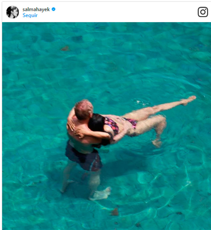 'Love is in the air': Salma Hayek y François-Henri Pinault en su foto más romántica