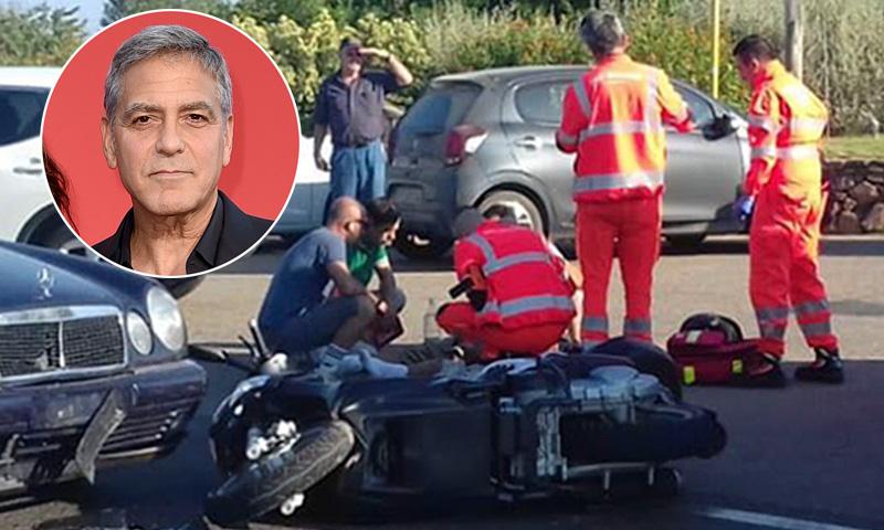 Resultado de imagen para choque de George Clooney en moto