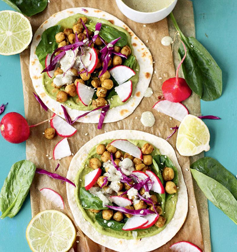 tacos vegetarianos garbanzos