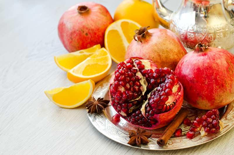 granada y naranja