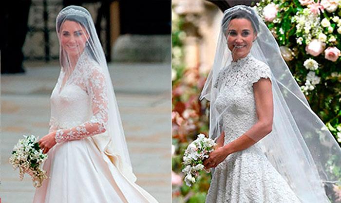 en qué se parece el vestido de novia de pippa middleton al de kate