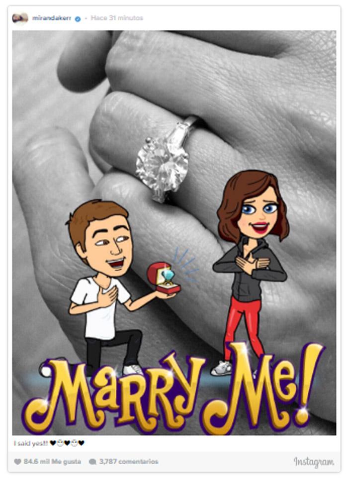 '¡Dije que sí!' Miranda Kerr se compromete con Evan Spiegel