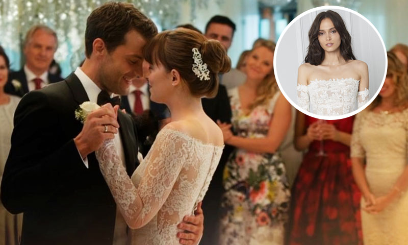el lujoso vestido de novia de dakota johnson en fifty shades freed