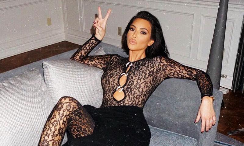 Todo De Encaje El Peculiar Y Glam Look De Kim Kardashian Foto