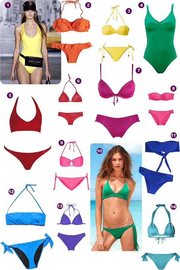 Bañadores y bikinis en colores vivos