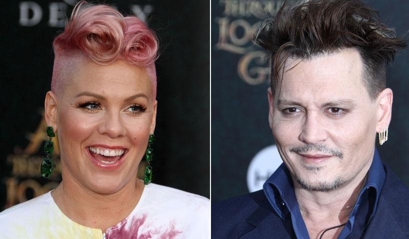 Pink confiesa que tiene un 'crush' con Johnny Deep y ¡él la sorprende!