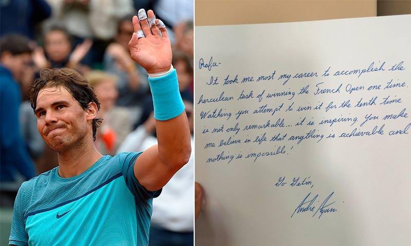 Andre Agassi escribió una carta de puño y letra para alentar a Rafa Nadal
