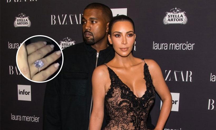 Kanye West le regala otro impresionante anillo de diamantes a Kim Kardashian