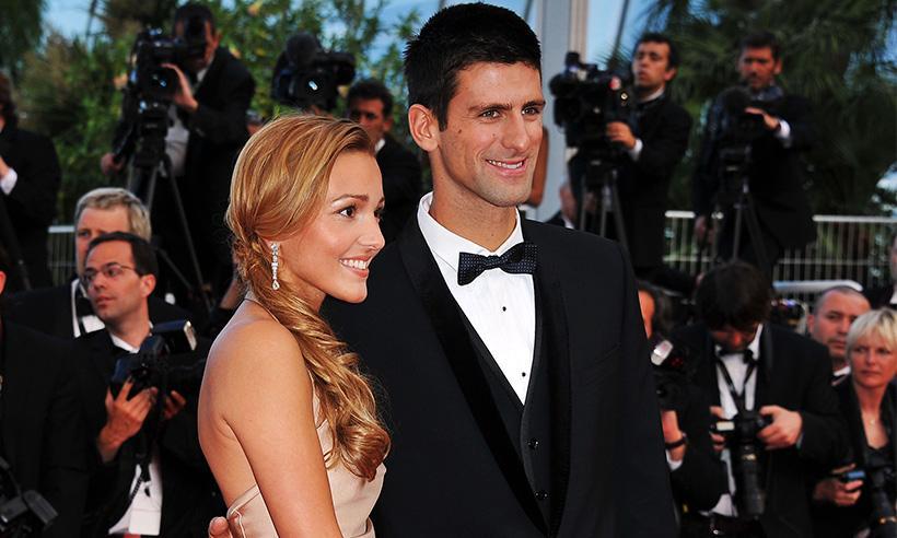 El tenista Novak Djokovic y su esposa Jelena Ristic celebran su tercer aniversario de bodas