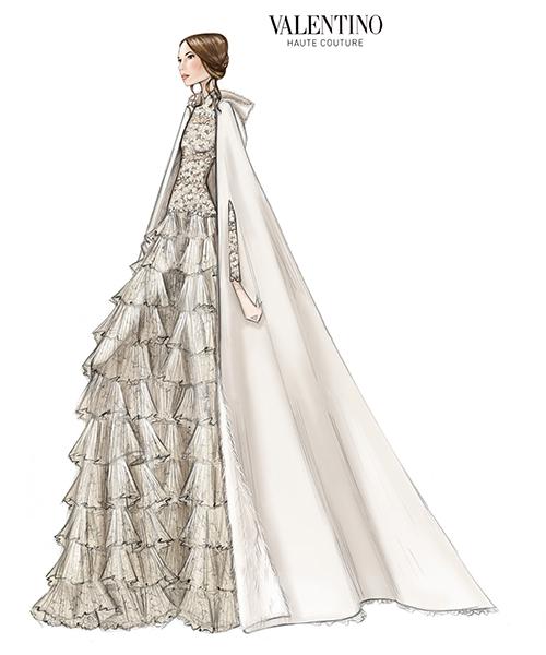 Valentino revela el boceto del vestido de novia de Tatiana ...