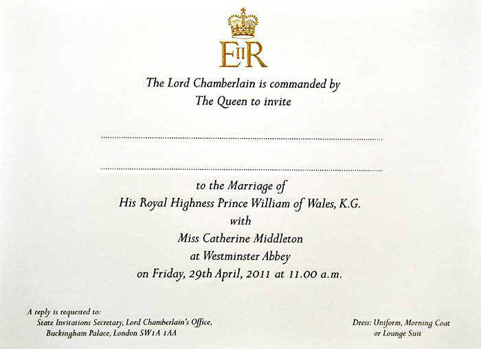 Invitaciones del Príncipe William y Kate Middleton