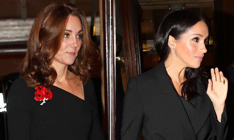 El infalible negro: Kate Middleton y Meghan Markle, dos estilos, un color