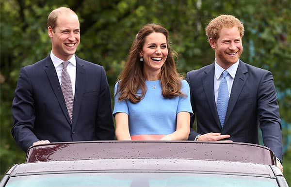 William, Harry y Kate